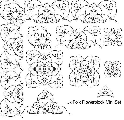 Folk flowerblock mini set